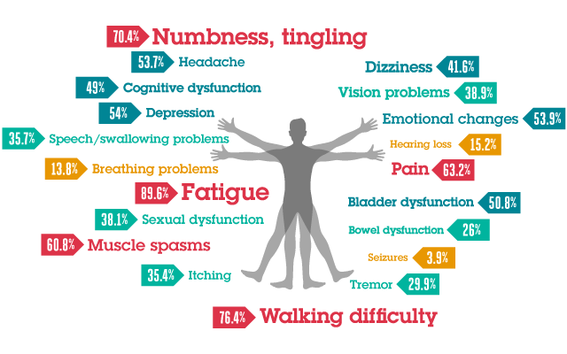 Frequent MS symptoms