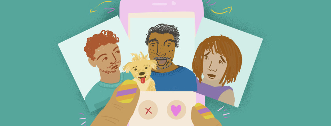 Two fingers hold a pink cell phone; an image of a man with curly red hair is to the left, a man with black and gray hair is in the center holding a blonde dog, and a woman with auburn hair is in an image to the right.