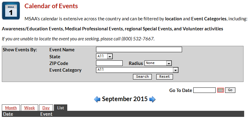 Check out MSAA's Calendar of Events for MS educational events across the country