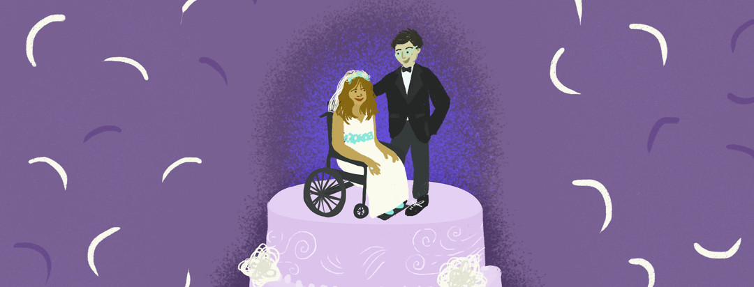 A woman in a wedding gown and a wheelchair with a man in a tuxedo are on top of a lavender wedding cake.