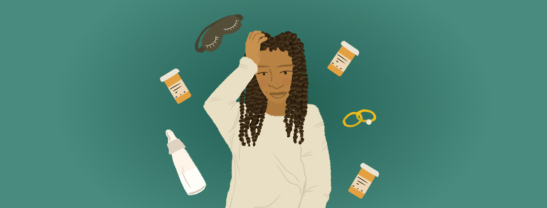 A person sits cross legged while a bottle of pills, a baby bottle, two marriage rings, and an eye mask for sleeping float above her body.
