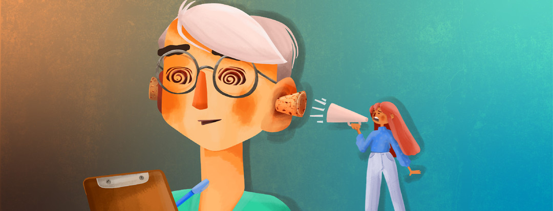 A doctor is writing on a clipboard with corks in her ears and a dazed look on her face. A woman with a megaphone stands on a podium yelling towards the plugged ears.