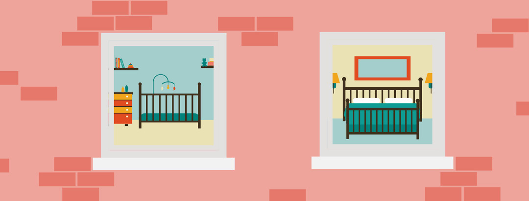 Looking into a home from the outside, a baby's room with a crib is right next to a parent's bedroom.
