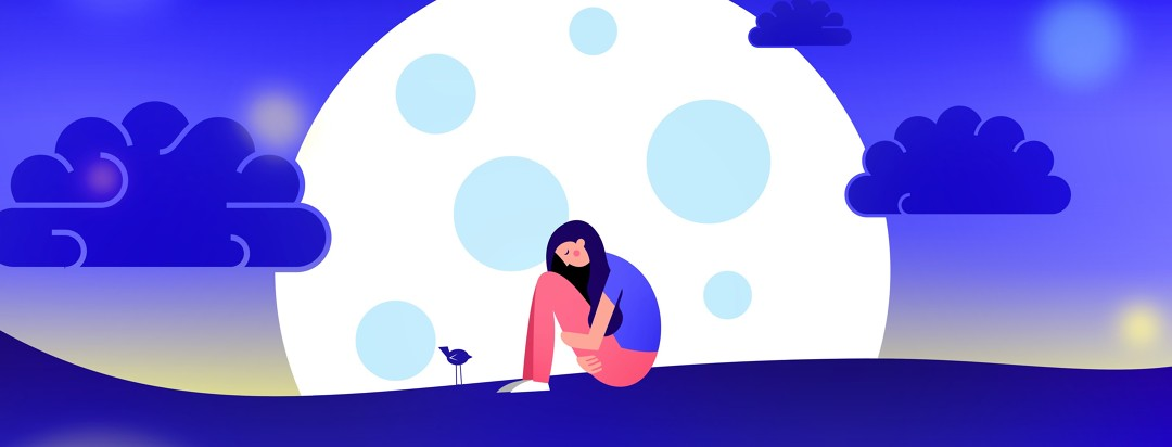 a woman sitting hunched on the ground with the moon and clouds behind her