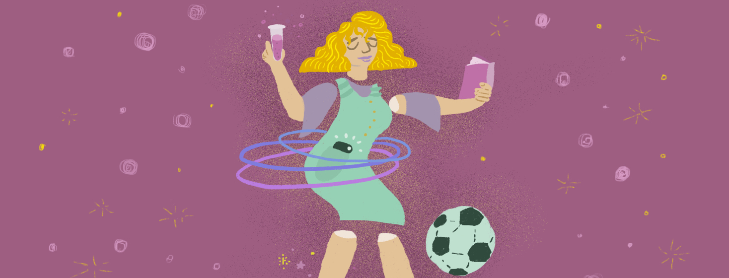 Woman with disconnected body parts is playing soccer, hula hooping, holding a test tube, and reading.