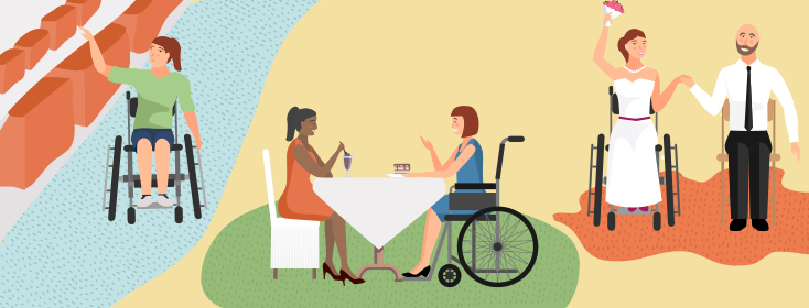 a woman in a wheelchair in a few different scenes including having lunch with a friend and getting marries