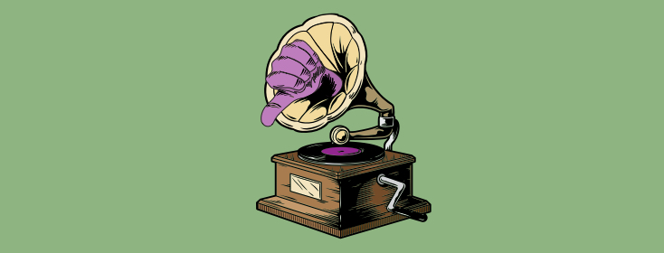 An image of a phonograph with a thmubs down coming out of it