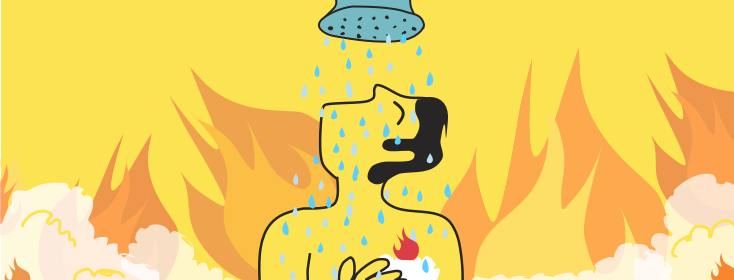 man overheating in the shower