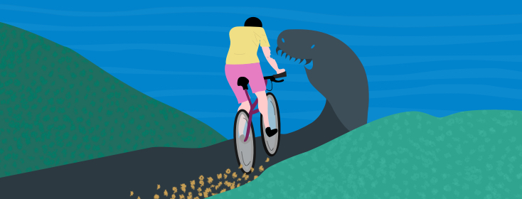 woman riding her bike down a path and the path turns into a shadowy monster representing MS