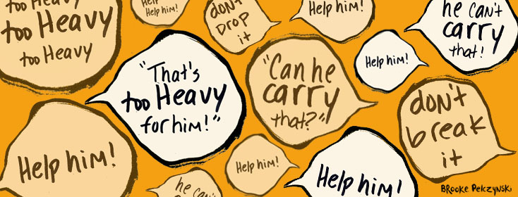 speech bubbles expressing concern about carrying heavy objects