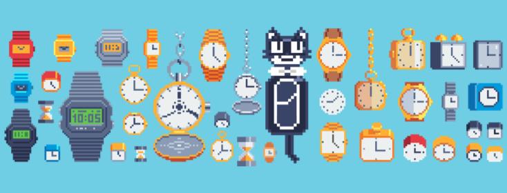 many pixelated clocks