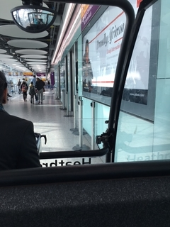 view from a cart in the London airport