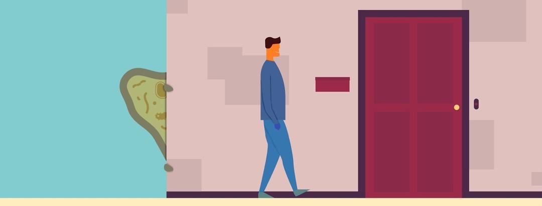man walking away from a germ