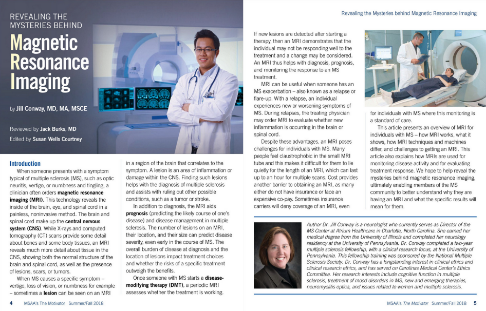 Revealing the Mysteries behind Magnetic Resonance Imaging MRI in MSAA's The Motivator magazine