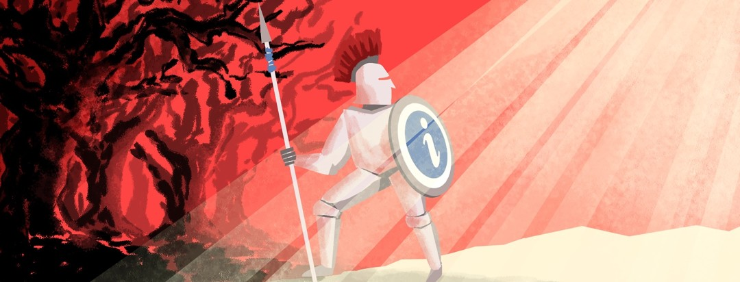 A person in armor departs a dark forest and steps into the light, armed with a shield that indicates they are protected from what is to come by knowledge and information.