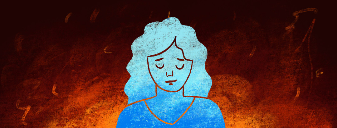 A woman is surrounded by a dark fire background while she tries to accept a cool blue demeanor.