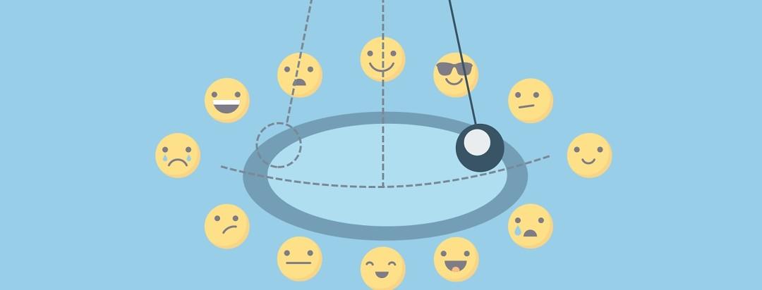 Pendulum swinging in a circle of emojis