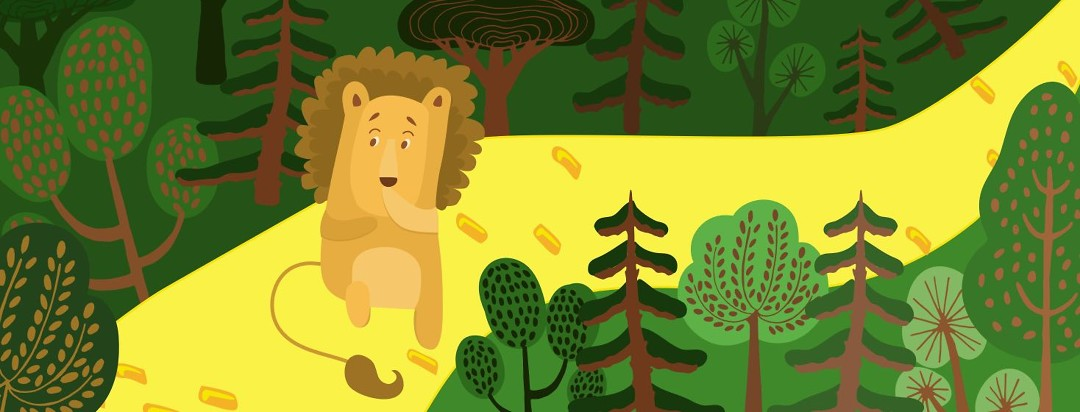 Cowardly Lion scared in the forest.