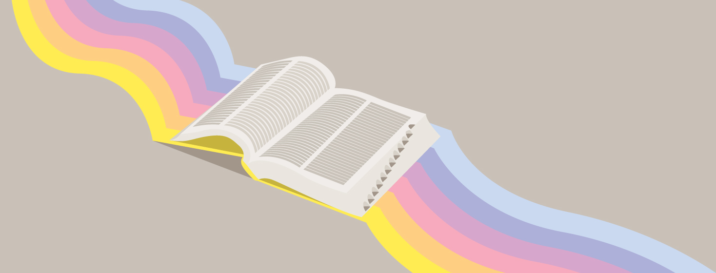 An open dictionary with a rainbow behind it.