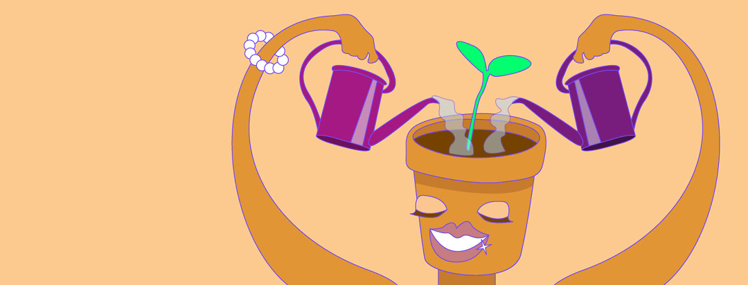A figure with a flowerpot head receiving water from both hands, to help the plant grow.