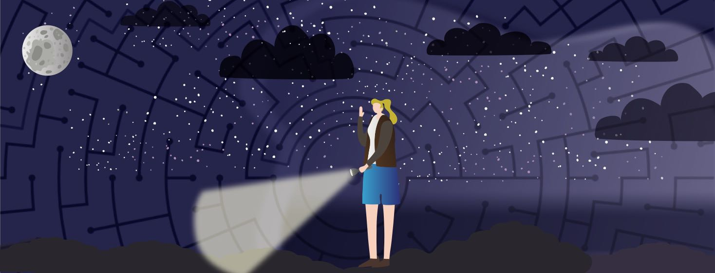 A woman searching the unknown with a flashlight in hand and a maze outline behind her.