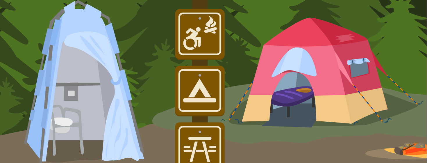 An accessible campsite with wheelchair friendly accommodations.