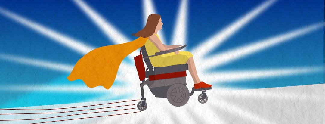 A woman in an electric wheelchair racing up an incline with a cape flowing behind her.