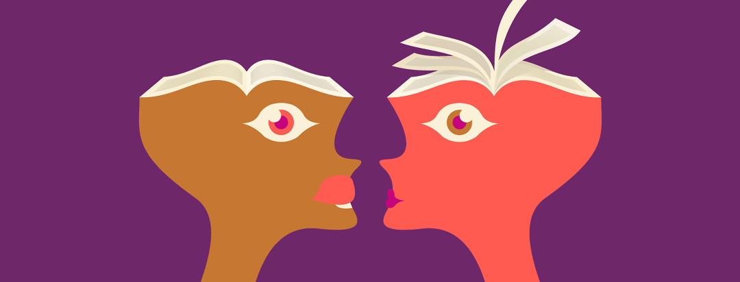 Two people facing each other with the tops of their heads open like the pages of a book