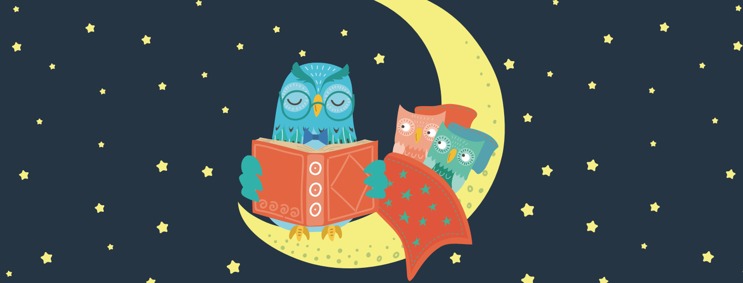 A parent owl reading to two little owls at bedtime. The parent is exhausted and the kids are wide awake.