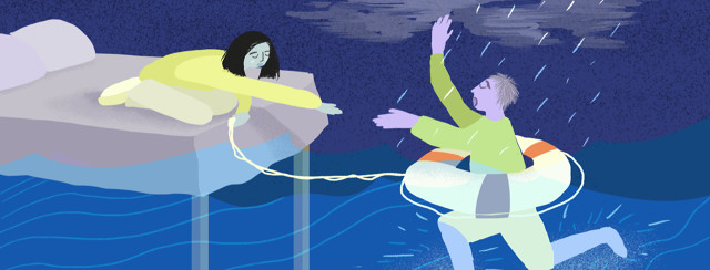 A man is drowning in water with a lifesaver around his waist while a woman kneeling over from the foot of a bed holds the lifesaver cord to pull him in.