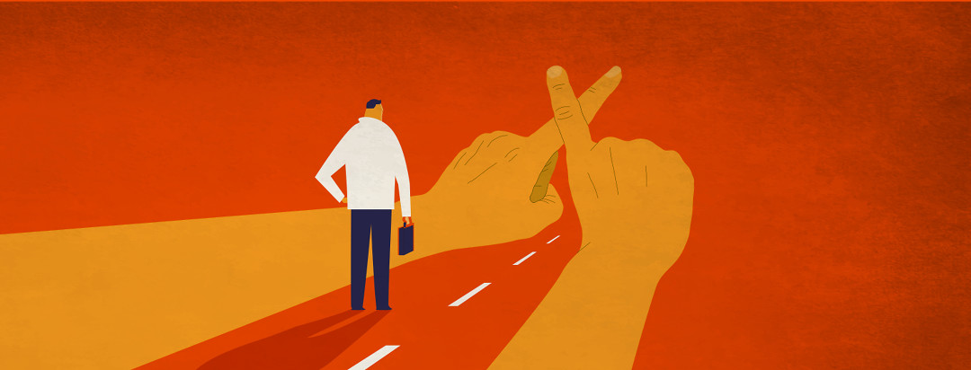 A business person walking down a road, and large hands are crossing in front of their path, not allowing them to pass.