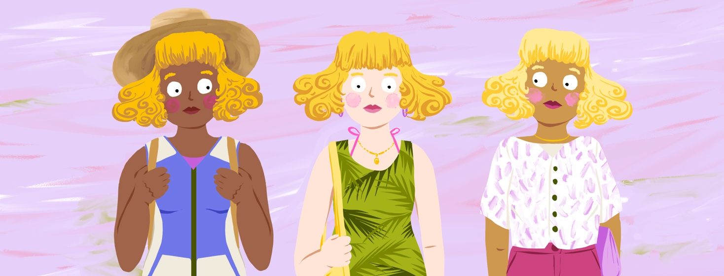 Three versions of Goldilocks stand together, one wearing a 3/4 length sleeved shirt and pants, one wearing a sleeveless dress with a pink swimsuit underneath, and one wearing a cooling vest and straw hat.