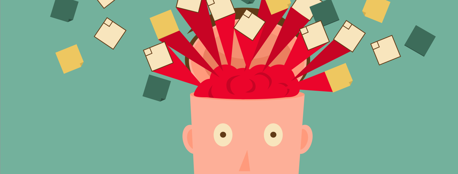 A person's head opening because their brain is too big and overloaded with tasks and events to do.