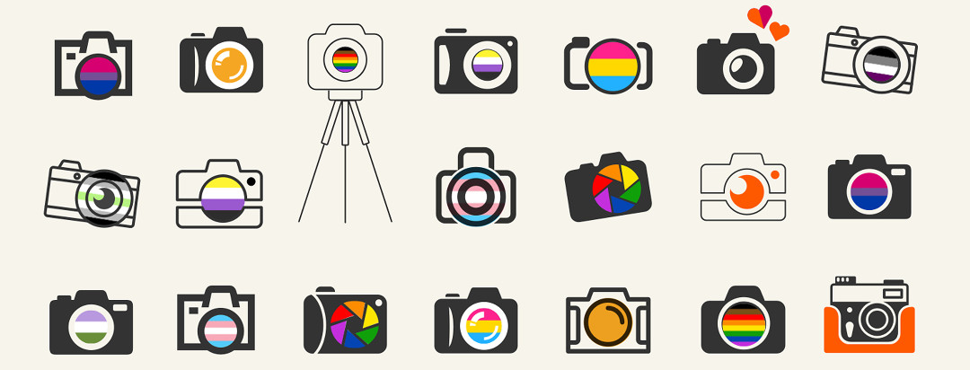 A variety of different black and white cameras with different LGBT flags in the lenses.