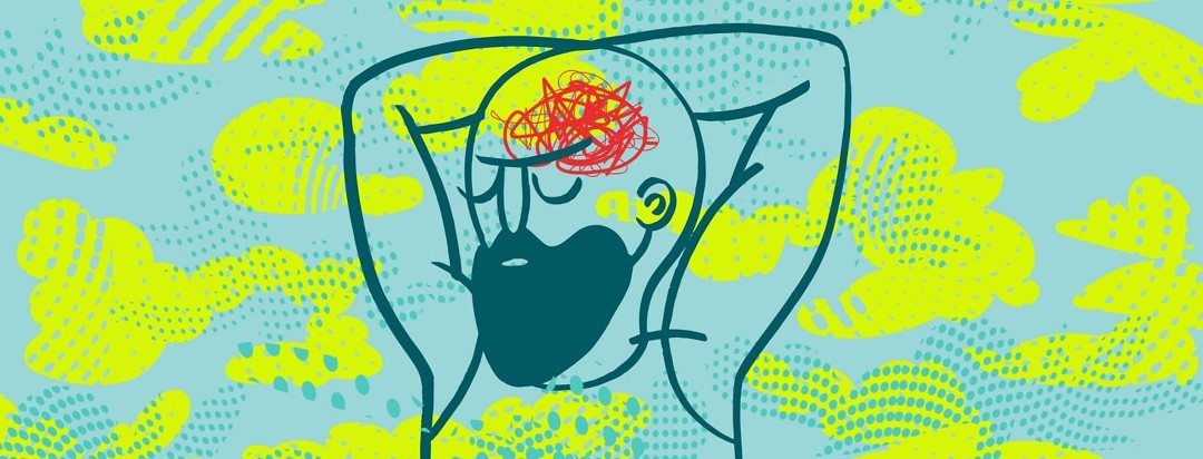 A man lies with his arms behind his head and struggles with a red scribble cloud of thoughts in his head