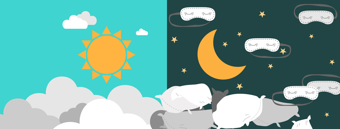 The sun and the moon side by side. When the clouds pass by the moon they transform into pillows and sleep masks.