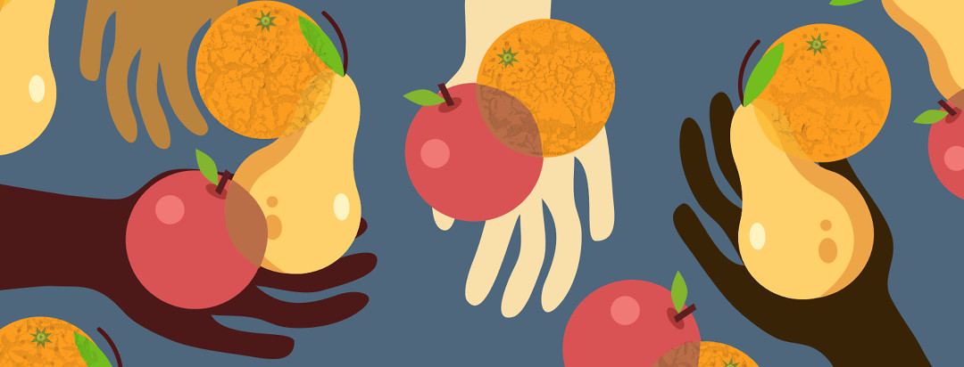 Many hands holding out different types of fruit. There are overlapping apples, oranges, and pears.