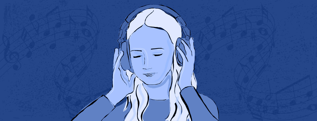 A woman with white hair listening to music on a set of large headphones while musical notes float around her head.