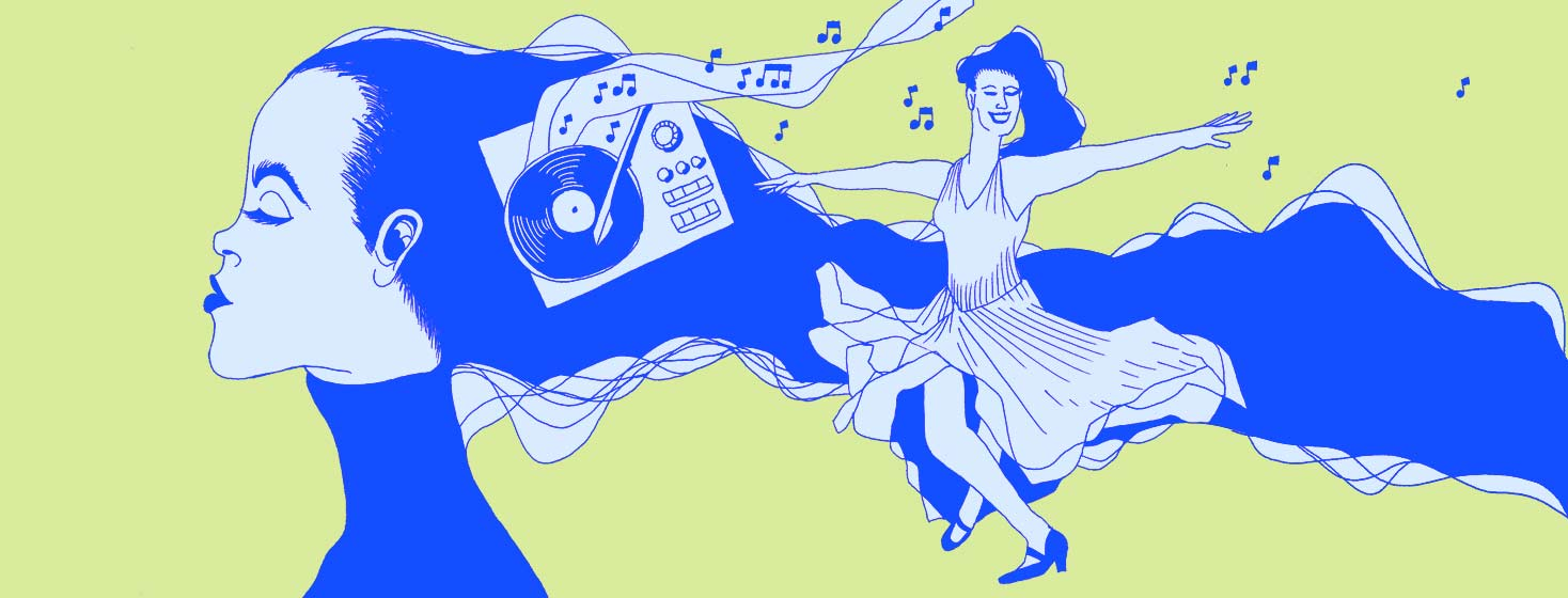 A side profile of a woman reflecting on the past as a younger version of herself is dancing and twirling happily to music on an old record.