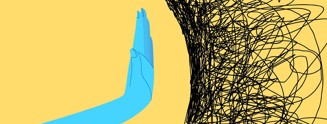 An illustration of a blue hand on a yellow background holding out in from of a person to ward off squiggly scribbles signifying stress.