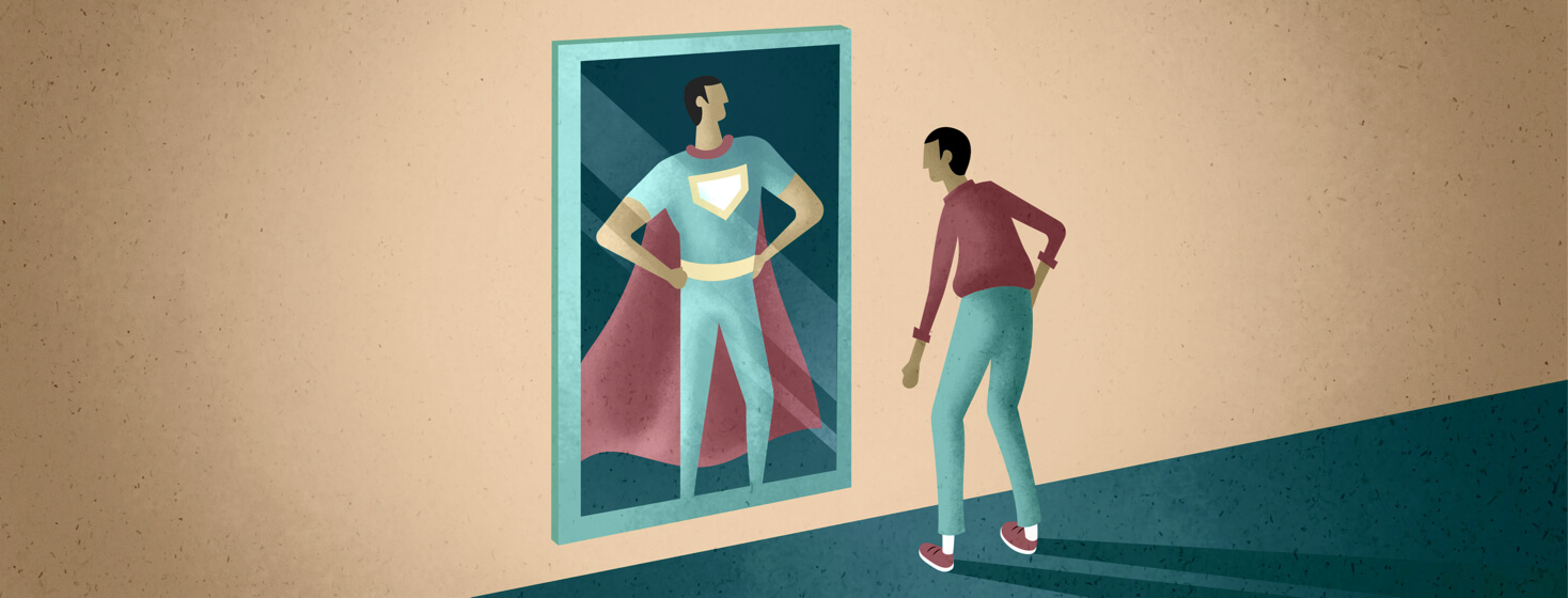 A man looking in the mirror sees himself as Superman, yet feels the opposite.