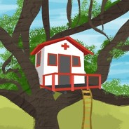 A treehouse decorated to look like a hospital on a beautiful day.