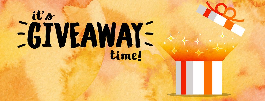 It's Giveaway time! A white box with a orange ribbon is opening with a ray of light and stars shining out the top.