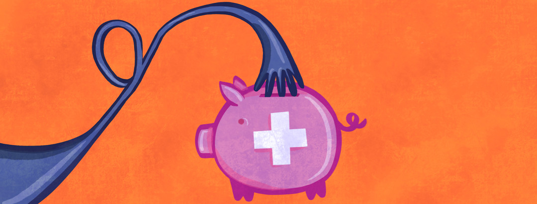A purple arm twists to form the shape of a ribbon is reaching into a piggy bank with a medical cross on it