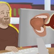 A senior man smiles at a computer with a talking mouth on the back.