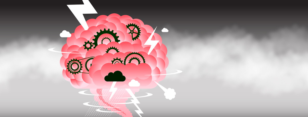 A pink brain is floating alone in a empty foggy space. There are gears that can't be fully seen and thunderclouds with lightening.