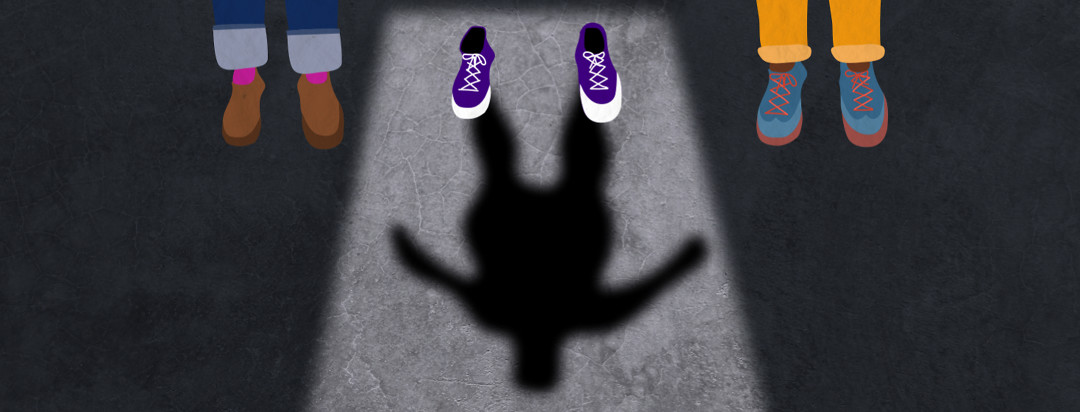 Three pairs of shoes in a row. The middle pair is empty but a shadow of their figure casts on the floor.