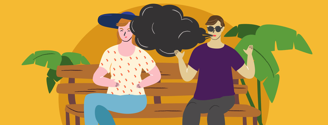 Two people are sitting next to each other on a bench. The one has their hands up and is spewing toxic smoke from their words. The other person looks uncomfortable and upset.