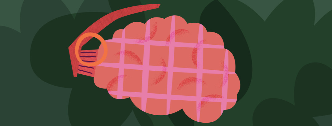A pink grenade shaped as a brain. It has a pin that is not yet pulled and is set on a green camouflage background.