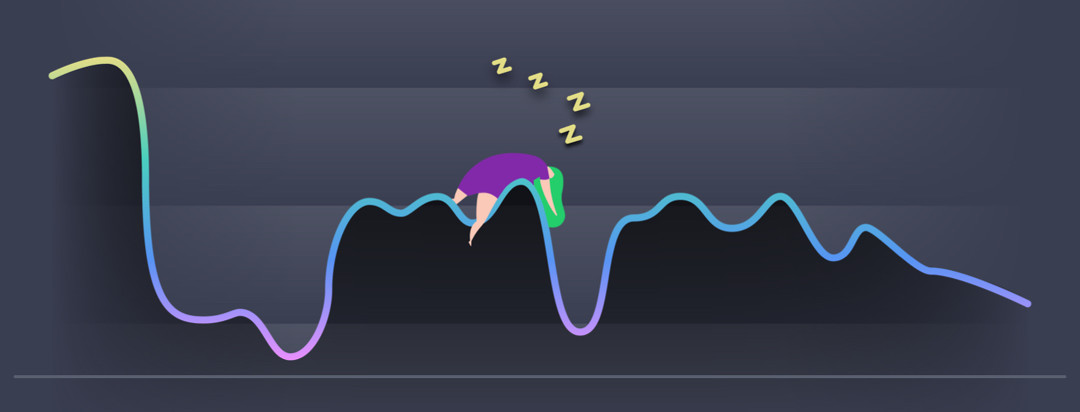 A line graph symbolizing the ups and downs a person with MS can experience. There is a woman sleeping on one of the slopes.